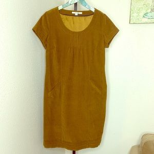 Boden corduroy pintuck retro dress golden brown 10